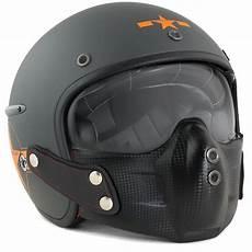 casque jet fibre moto scooter harisson chaft carbone gris