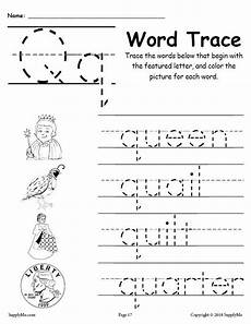 letter q words free alphabet tracing worksheet supplyme
