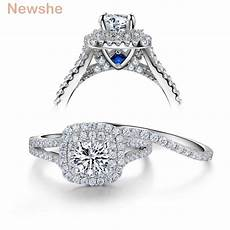 newshe 2 pcs solid 925 sterling silver s wedding ring sets victorian style blue side