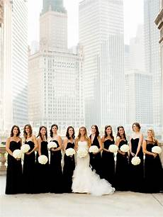 chicago urban loft wedding black white wedding theme black bridesmaid dresses loft wedding