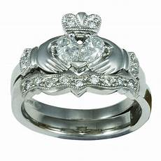 14k white gold claddagh diamond engagement ring wedding ring ebay