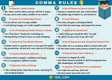 comma rules when to use commas in english engalpish when to use commas english language