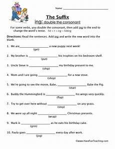 suffix worksheet ing have fun teaching
