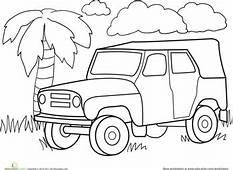 Color A Car Jungle Jeep  Classroom Cars Coloring Pages