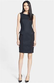 ted baker structured peplum sheath dress in black lyst