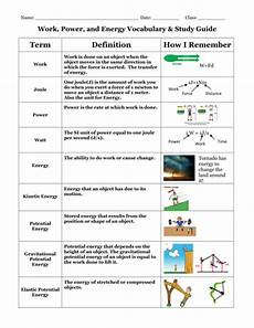 work power and energy vocabulary and study guide teaching resources