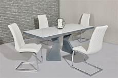 Esstisch Hochglanz Grau - white glass grey gloss dining table 6 white chairs