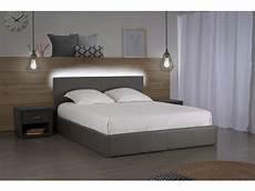 lit coffre 140x190 cm avec led steva light coloris gris