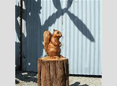Squirrel Chainsaw Carving, Carved Wooden Squirrel