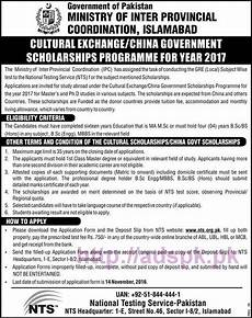 nts new cultural exchange china govt scholarships program 2017 written test syllabus papers