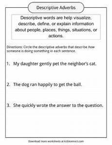 descriptive words exles definition worksheets for kids
