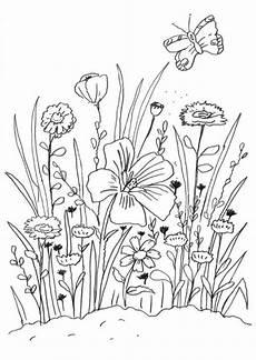 Ausmalbilder Blumen Und Bienen Kostenlose Malvorlage Blumen Blumenwiese Zum Ausmalen Zum