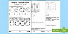 converting analogue to digital time and vice versa worksheet worksheet