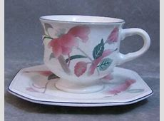 Mikasa Silk Flowers Octagonal Cup and Saucer Pink Teal   eBay