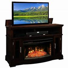loft tv lift console and electric fireplace by