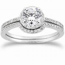 3 4ct pave diamond halo 14k white gold ebay