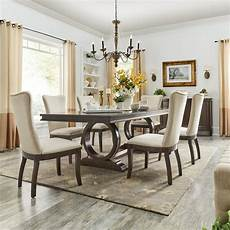 shop willa dark cherry wood and beige fabric extendable rectangular dining set by inspire q