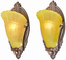 art deco pair of antique wall sconces slip shade 1930s light fixtures ant 813