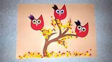 Die Eulen Herbst Basteln Mit Papier Mit Schablone Zum