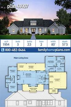 southern living ranch house plans southern style house plan 41407 with 3 bed 3 bath 2 car
