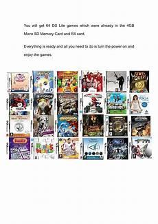 jeux ds lite r4 carte sd 4 go 64 jeux gratuits nintendo ds lite