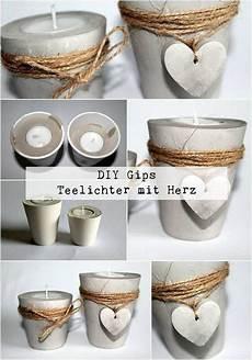 Diy Gips Beton Teelichthalter Mit Einem Herz Ganz