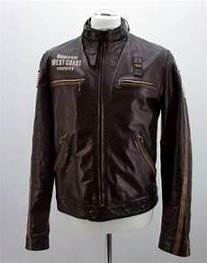 original blauer usa lederjacke biker stil herren schwarz