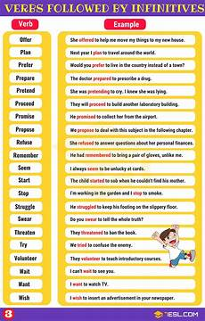 55 common verbs followed by infinitives in english 7 e s l
