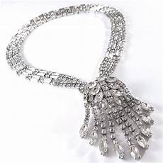 signed kramer of new york vintage 15 quot necklace marquise rhinestone wedding bn4 rhinestone