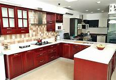interior design for kitchen room u shaped kitchen with false ceiling and maroon cabinets by