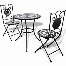3pc outdoor mosaic bistro set in black white 60cm buy