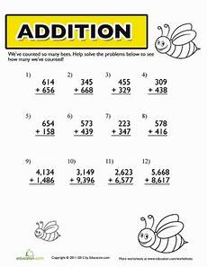 addition worksheets for 4th grade free 9808 bumble bee addition worksheet education