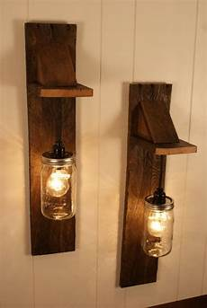 pair of mason jar chandelier wall fixture mason jar lighting upcycled wood mason