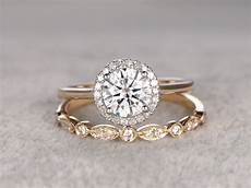 2pcs moissanite wedding ring diamond matching band two