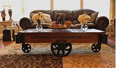 mill cart coffee table vintage restored lineberry factory cart wheel