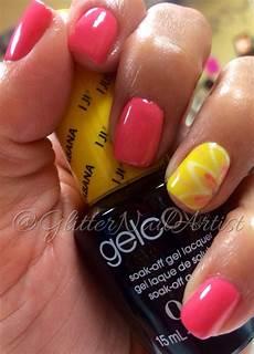 glitternailartist fun summer nails pink and yellow nails painted nail art nail art