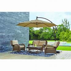 hton bay 11 ft led offset outdoor patio umbrella in sunbrella sand yjaf052 a patio