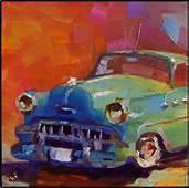 Lil Darlin  6x6 Oil On Panel Old Vars Antique Cars