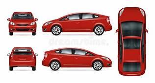 Hatchback Red Car Back View Stock Illustration