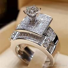 2019 vecalon brand luxury big ring fashion 925 silver love bridal promise engagement