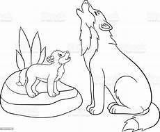 Ausmalbild Wolf Baby Coloring Pages Wolf Howls With His Baby