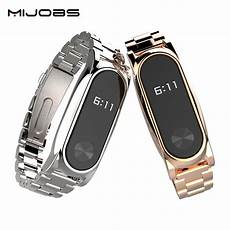 Mijobs Replacement Metal Stainless Steel Frame by Mijobs Metal For Xiaomi Mi Band 2 Straps Screwless