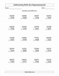 multi digits subtraction math worksheet subtracting 4 digit numbers with all regrouping a