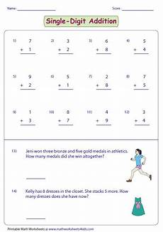 worksheets addition with 4 digit addends 9152 it contains more than 100 single digit addition worksheets based on 13 skills imagens