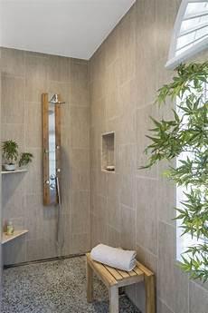 Zen Master Bathroom Ideas by Modern Zen Bath Remodel Bamboo Print Tile Pebble Floor