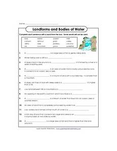water and landforms worksheets landforms and bodies of water 3rd 4th grade worksheet