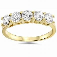1 1 4ct diamond wedding 14k yellow gold anniversary ring 5 stone high polished ebay