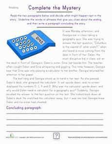 fourth grade reading practice complete the mystery worksheet education com