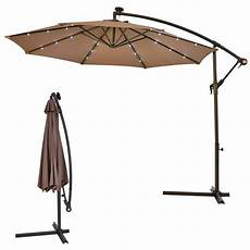 costway 10 ft steel market hanging solar led patio umbrella with base in op3154tn the
