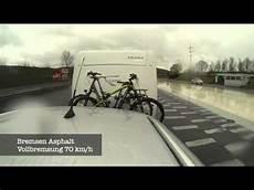 geschwindigkeit mit fahrradträger wohnwagen bremstest thule fahrradtr 228 ger auf deichsel